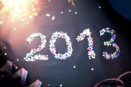 Happy new year 2013 with shining stars photo
