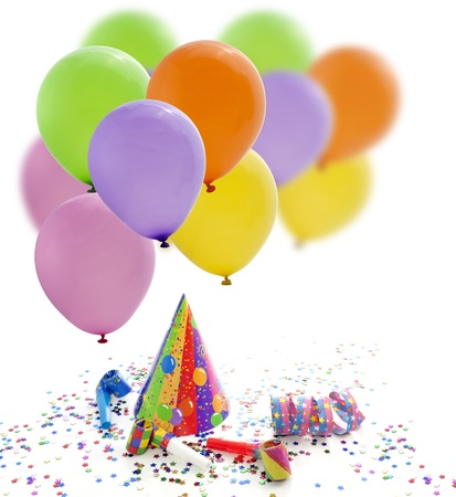 serpentine: Colorful party birthday new year background with balloons Stock Photo