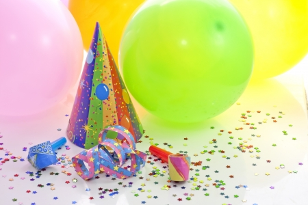 hat new year happy new year festive: Colorful party birthday new year background with balloons Stock Photo