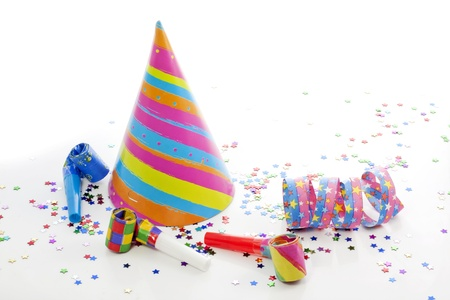 Party birthday new year items on white background