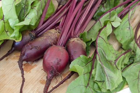 fresh organic beetroot  with leaves on wooden table  photo