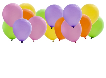 colorful party balloons isolated on white background photo