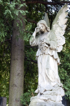 angel headstone:  Sculpture of angel on cemetery in Warsaw Stock Photo