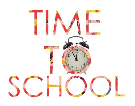 Time to back to school letters with alarm clock photo