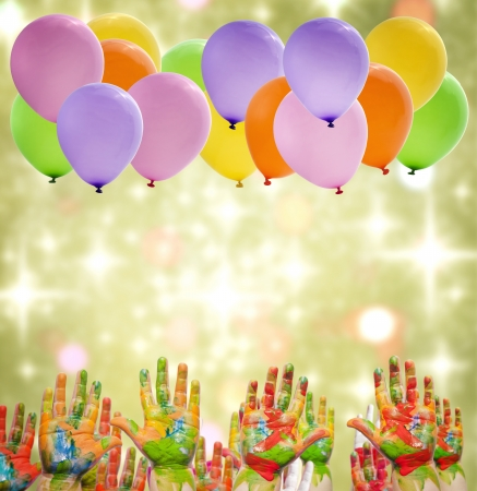kids birthday party: Child painted hands and balloons happy birthday party