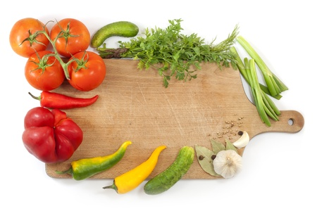 vegetables and spices border and empty cutting board  Stock Photo