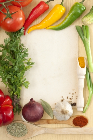 recipe book:  Vegetables and spices border and blank paper for recipes