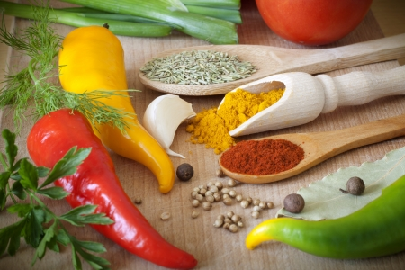 Hot spices herbs and vegetables on desk in kitchen Stock Photo - 14901068