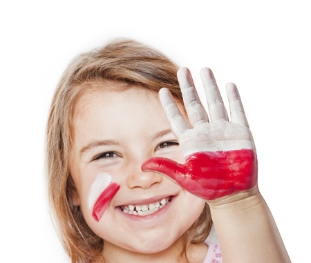 polska: Fan happy girl with painted hands and polish flag Stock Photo