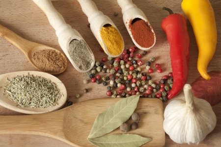 Hot spices herbs and vegetables on desk in kitchen Stock Photo - 14967376