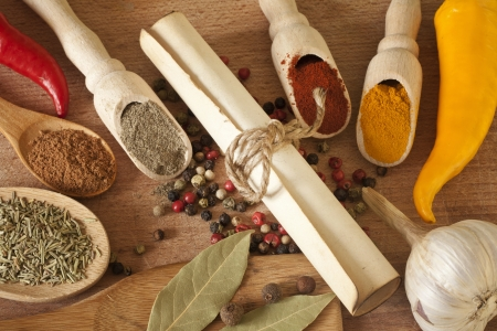 Hot spices herbs and vegetables on desk in kitchen and old recipe Stock Photo - 14967378
