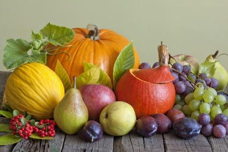 Vegetables and fruits in autumn season still life photo