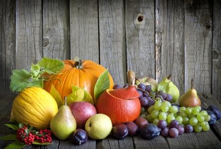 seasonal:  Vegetables and fruits in autumn season still life