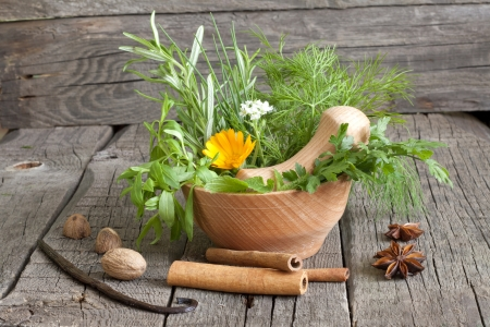 Herbs and spices in mortar on wooden boards Stock Photo - 15332994