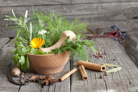 Herbs and spices in mortar on wooden boards photo