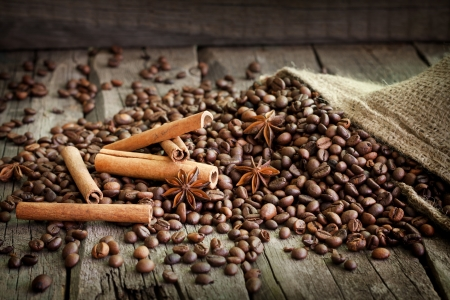 Coffee beans cinnamon and anise vintage still life photo