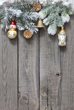 vintage christmas background: Christmas tree baubles background on vintage wooden boards