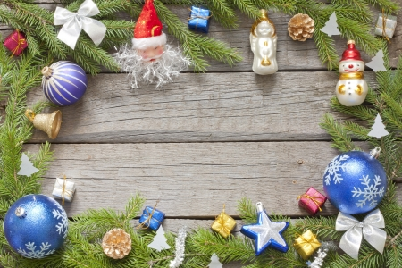 Christmas background border with baubles on wooden boards Stock Photo - 15685543