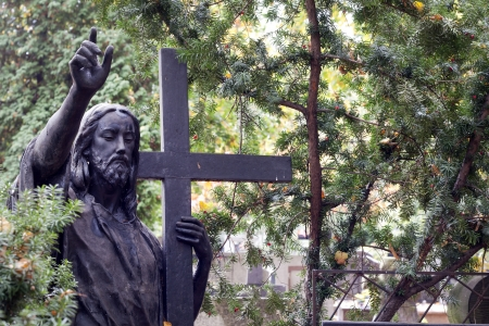 godly: Jesus Christ on cemetery in Warsaw Stock Photo