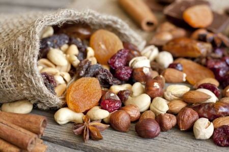 cocoa fruit: Nuts and dried fruits mix