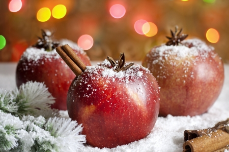 sugar apple: Christmas food apples on snow closeup and blurred background