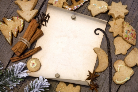 Christmas cookies and old vintage blank paper on wooden boards Stock Photo - 16123731
