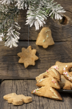 Christmas homemade cookies on wooden boards with fir background photo