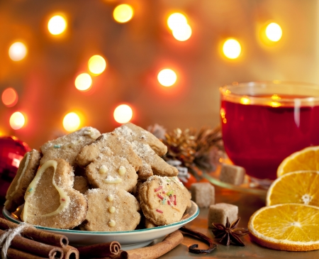 mulled: Christmas homemade cookies with punch and spices Stock Photo
