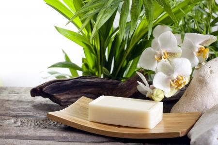 bañarse: Spa jabón y orquídeas blancas en la piedra contra la palma de la mano Foto de archivo