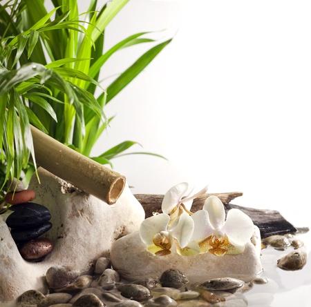 Orchideeën en zen stenen op water spa-concept op witte achtergrond Stockfoto