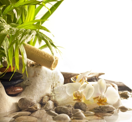 Orchids and zen stones with falling water spa concept background photo