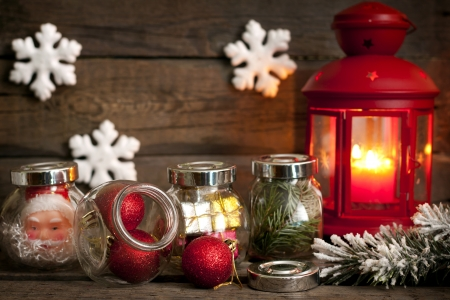 Prepare to Christmas unique concept lantern baubles and snow background photo