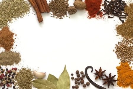 spice isolated: Herbs and spices border on white background
