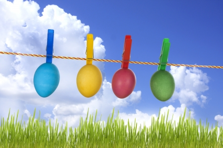 Colorful easter eggs hanging on meadow like laundry concept photo