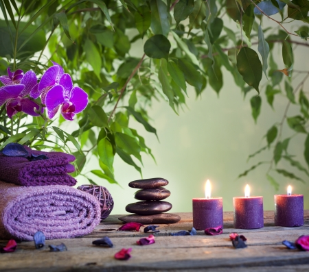 zen stones: Spa still life with zen stones aromatic candles and orchids