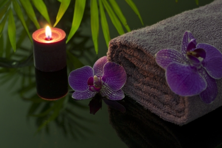 Orchid and towel with candle in night spa concept photo