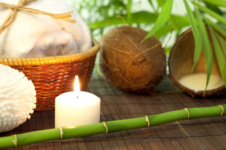 Bamboo and coconut milk spa cosmetic still life photo
