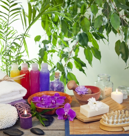 bamboo therapy: Spa cosmetic still life with peeling bottle
