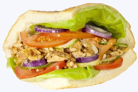 Kebab sandwich on white background
