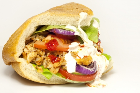 Kebab sandwich on white background photo