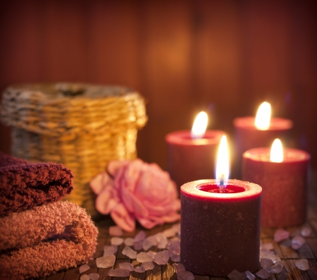 Spa concept in night with candles still life photo