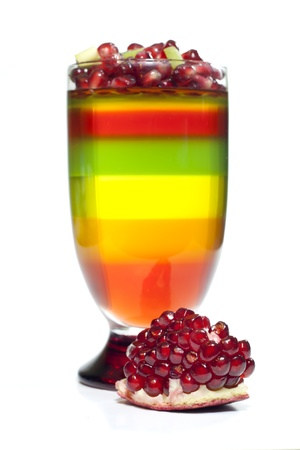 Colorful jelly dessert and pomegranate fruit photo
