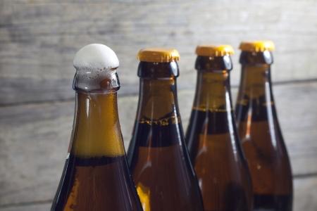 wheat beer: Bottles of beer closeup