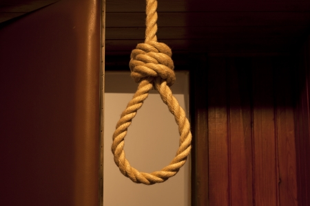 gallows: Suicide, hanged in the room concept Stock Photo
