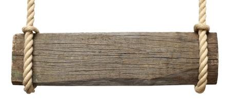 Uithangbord op het touw geïsoleerd op witte achtergrond Stockfoto