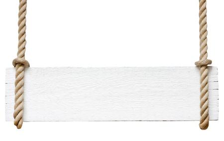 Uithangbord op het touw op een witte achtergrond