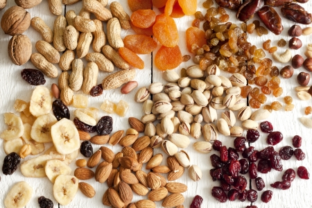 filbert nut: Dainty nuts and dried fruits mix Stock Photo