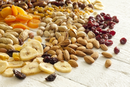 Dainty nuts and dried fruits mix photo