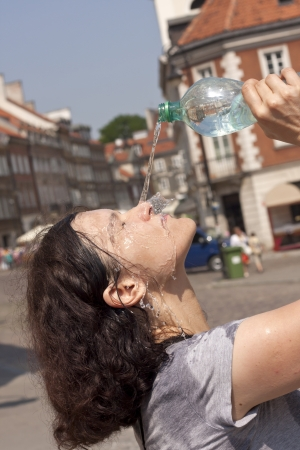 sweltering: Heat in the city on street in sweltering hot summer days concept