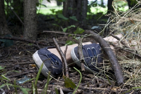 forensics: Forensics and investigation girl legs in the forest Stock Photo